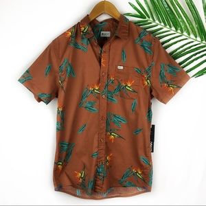 Matix Mens Button Down Floral Print Small Orange